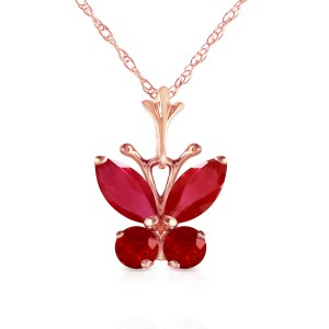 0.6 CTW 14K Solid Rose Gold Butterfly Necklace Natural Ruby
