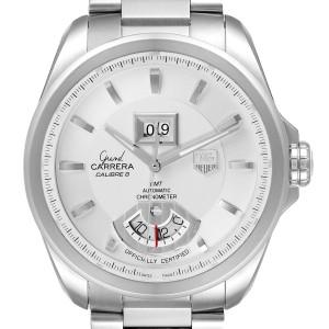 Tag Heuer Grand Carrera GMT Chronograph Silver Dial Mens Watch WAV5112