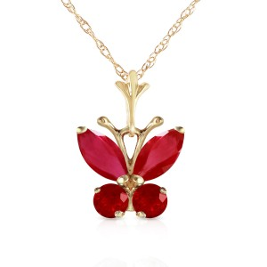 0.6 CTW 14K Solid Gold Butterfly Necklace Natural Ruby