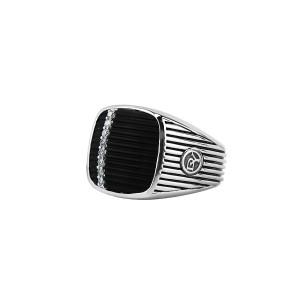 David Yurman Sterling Silver Royal Cord Onyx Diamond Ring