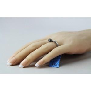 David Yurman 925 Sterling Silver Black Diamond Ball Stack Ring Size 6.75 & 7