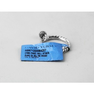 David Yurman 925 Sterling Silver White Diamond Ball Stack Ring Size 7
