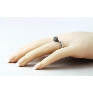 David Yurman 925 Sterling Silver White Diamond Ball Stack Ring Size 5, 6 & 7