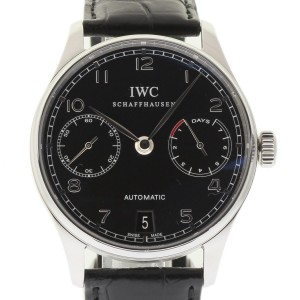 IWC Portuguese IW500109 Stainless Steel & Leather Black Dial Automatic 42mm Mens Watch