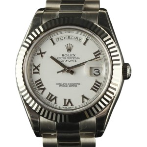 Rolex Day Date Ii 218239 18k White Gold White Dial 41mm Mens Watch
