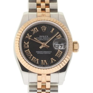 Rolex Datejust 179171 Steel Rose Gold Black Sunbeam Automatic 26mm Womens Watch
