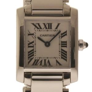 Cartier Tank Francaise W50012S3 18K White Gold Quartz 20mm Womens Watch