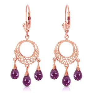 3.75 CTW 14K Solid Rose Gold Chain Drop Earrings Amethyst