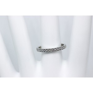 Tiffany & Co. 950 Platinum & 0.23ct. Diamond Half Circle Band Ring Size 7