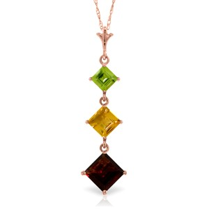 2.4 CTW 14K Solid Rose Gold Necklace Peridot, Citrine Garnet