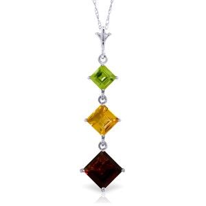 2.4 CTW 14K Solid White Gold Necklace Peridot, Citrine Garnet