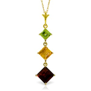 2.4 CTW 14K Solid Gold Necklace Peridot, Citrine Garnet
