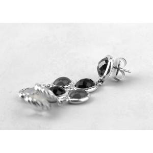 David Yurman 925 Sterling Silver Chandelier Diamond Onyx Earrings