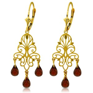 3.75 CTW 14K Solid Gold Chandelier Earrings Natural Garnet