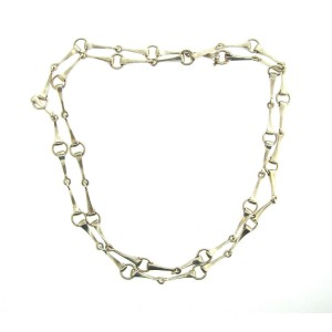 Gucci 925 Sterling Silver Long Horsebit Chain Necklace