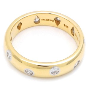 Tiffany & Co. 18K Yellow Gold and Platinum with 10 Point Diamond Ring Size 4.5