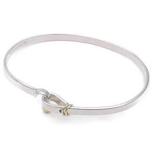 Tiffany & Co. Hook and Eye Sterling Silver and 18K Yellow Gold Bangle Bracelet