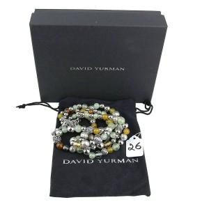 "DAVID YURMAN STERLING SILVER 18"" JASMIN DIAMOND 3 ROW BALL NECKLACE"