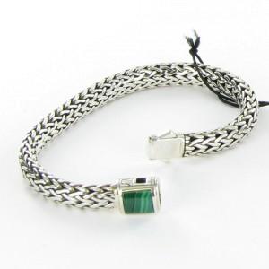 John Hardy Classic Chain 925 Sterling Silver with Malachite Bracelet