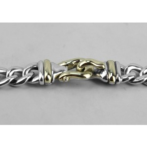 DAVID YURMAN STERLING SILVER 14K GOLD 10 mm SINGLE BUCKLE CHAIN