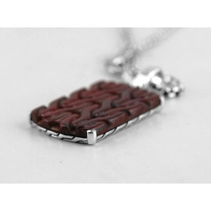 JOHN HARDY STERLING SILVER RED JASPER DOG TAG NECKLACE 26""