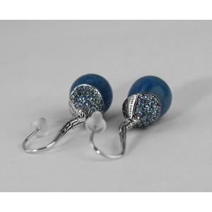 JOHN HARDY STERLING SILVER CLASSIC CHAIN BLUE QUARTZ TOPAZ EARRINGS