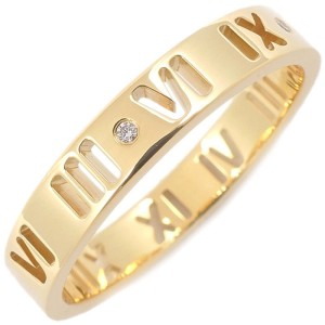 Tiffany & Co. Atlas Pierced 18K Yellow Gold with 4P Diamond Ring