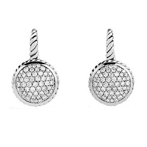 David Yurman 925 Sterling Silver with 1.01ct Diamond Drop Earrings