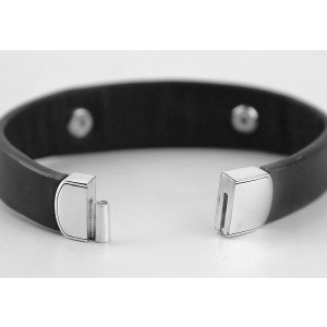 David Yurman 925 Sterling Silver and Leather with Onyx Graphic Cable Bracelet