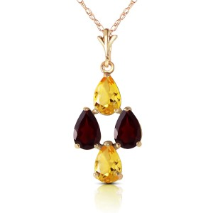 1.5 CTW 14K Solid Gold Twinkling Garnet Citrine Necklace