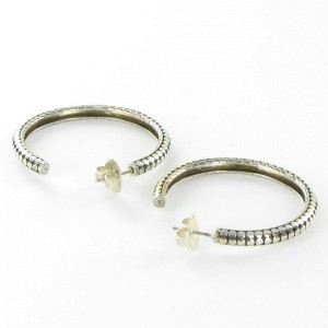 John Hardy Dot 925 Sterling Silver Hoop Earrings