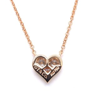 Tiffany & Co. Sentimental 18K Rose Gold with 3P Diamond Heart Necklace