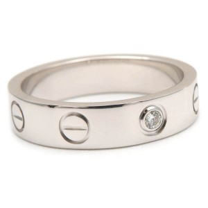 Cartier Mini Love Ring 18K White Gold 1 Diamond Size 4