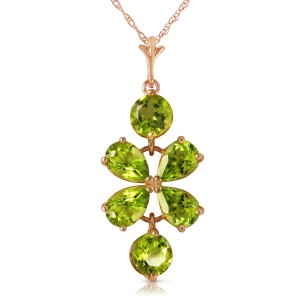 3.15 CTW 14K Solid Rose Gold Petals Peridot Necklace