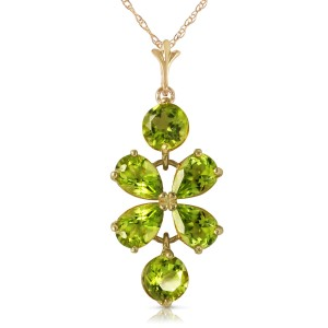 3.15 CTW 14K Solid Gold Lines Read In Spring Peridot Necklace