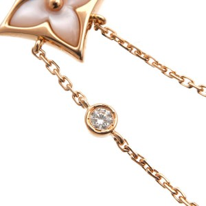 Louis Vuitton 18K Rose Gold Mother of Pearl & Diamond Star Necklace