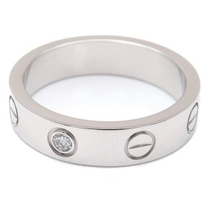 Cartier Mini Love Ring 18K White Gold 1 Diamond Size 3.75