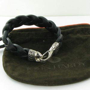 John Hardy Classic Chain 925 Sterling Silver with Leather Braided Hook Bracelet