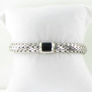 John Hardy Classic Chain 925 Sterling Silver with Onyx Clasp Bracelet