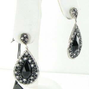 John Hardy Classic Chain Batu 925 Sterling Silver Black Chalcedony & Sapphire Earrings
