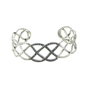 John Hardy Classic Chain 925 Sterling Silver with Black Sapphire Cuff Bracelet