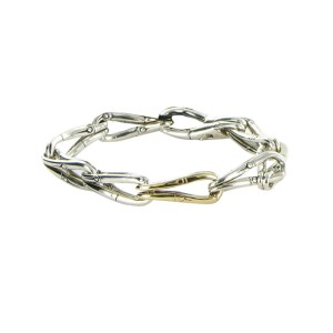 John Hardy Bamboo 18K Yellow Gold and 925 Sterling Silver Loop Link Bracelet