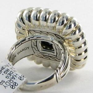 John Hardy Batu Bedeg 925 Sterling Silver with Hematite & 0.36cts Diamond Ring Size 7