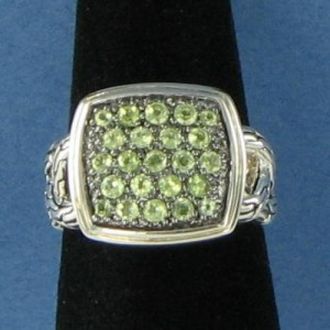 John Hardy Classic Chain Lava 925 Sterling Silver with Green Peridot Ring Size 6
