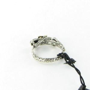 John Hardy Naga 925 Sterling Silver with Black Sapphire Ring Size 7