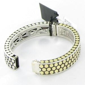 John Hardy Dot 18K Yellow Gold & 925 Sterling Silver Rectangular Hinged Bangle Bracelet