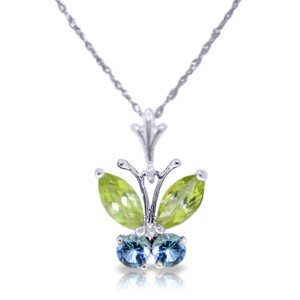 0.6 CTW 14K Solid White Gold Butterfly Necklace Blue Topaz Peridot