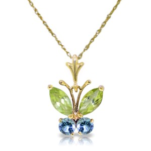 0.6 CTW 14K Solid Gold Butterfly Necklace Blue Topaz Peridot