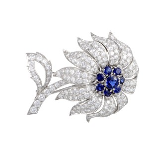 Tiffany & Co. 950 Platinum with 2.50ct Sapphire and Diamond Flower Brooch