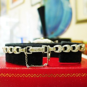 Antique Platinum Silver Diamond Helbros w/ Diamond Band Deco Ladies Watch